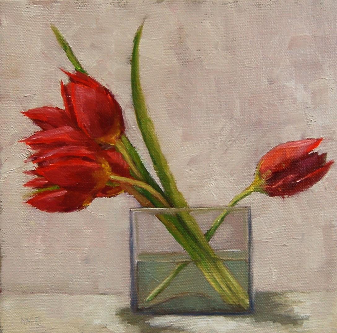 Red Tulios Square Vase